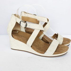 Lucky Brand Leather White Wedge Sandal 8